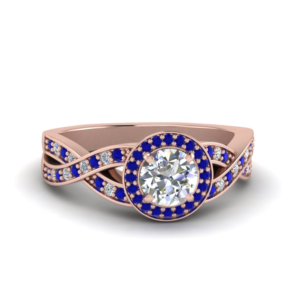 round diamond intertwined split shank halo engagement ring with sapphire in 14K rose gold FDENS3189RORGSABL NL RG