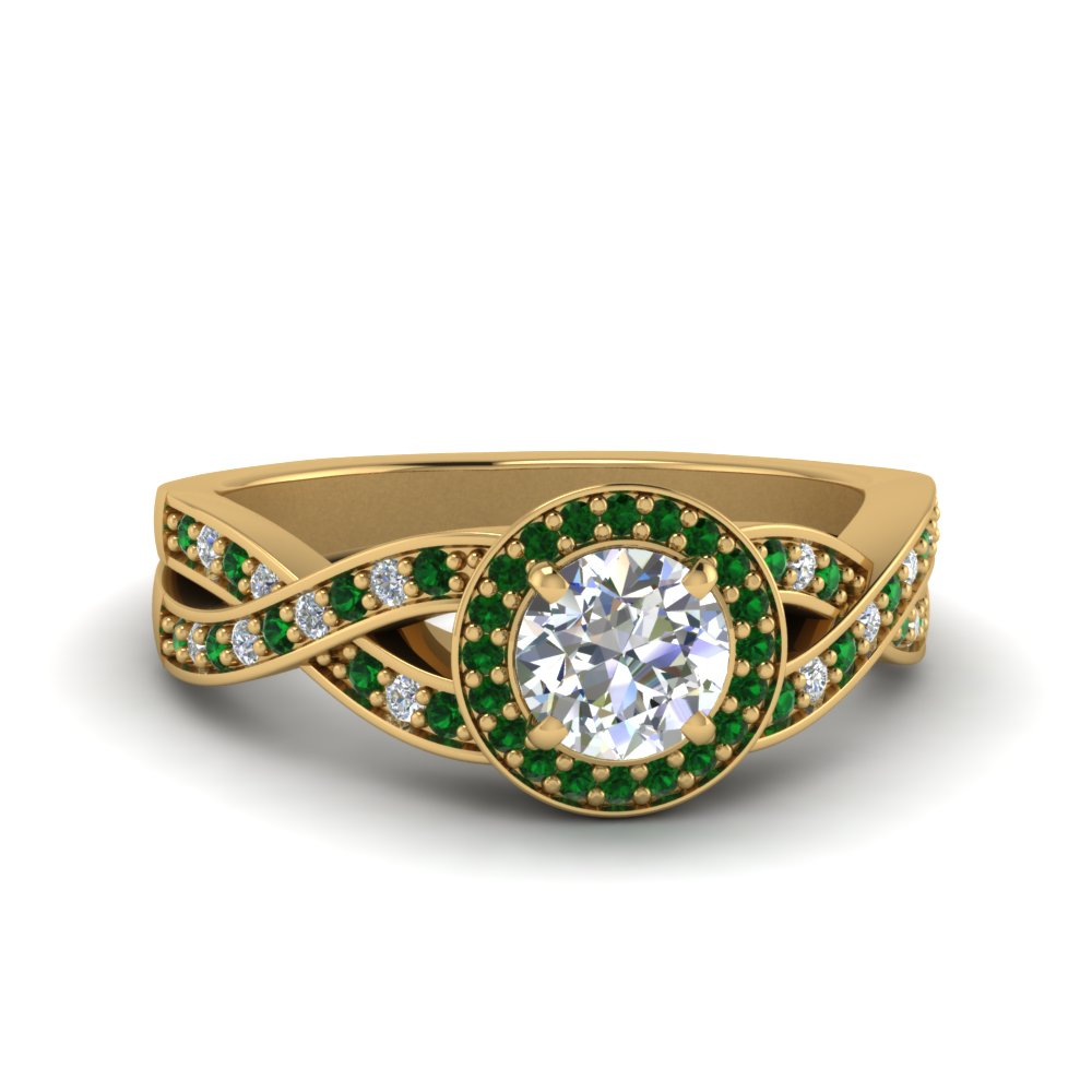 round diamond intertwined split shank halo engagement ring with emerald in 18K yellow gold FDENS3189RORGEMGR NL YG