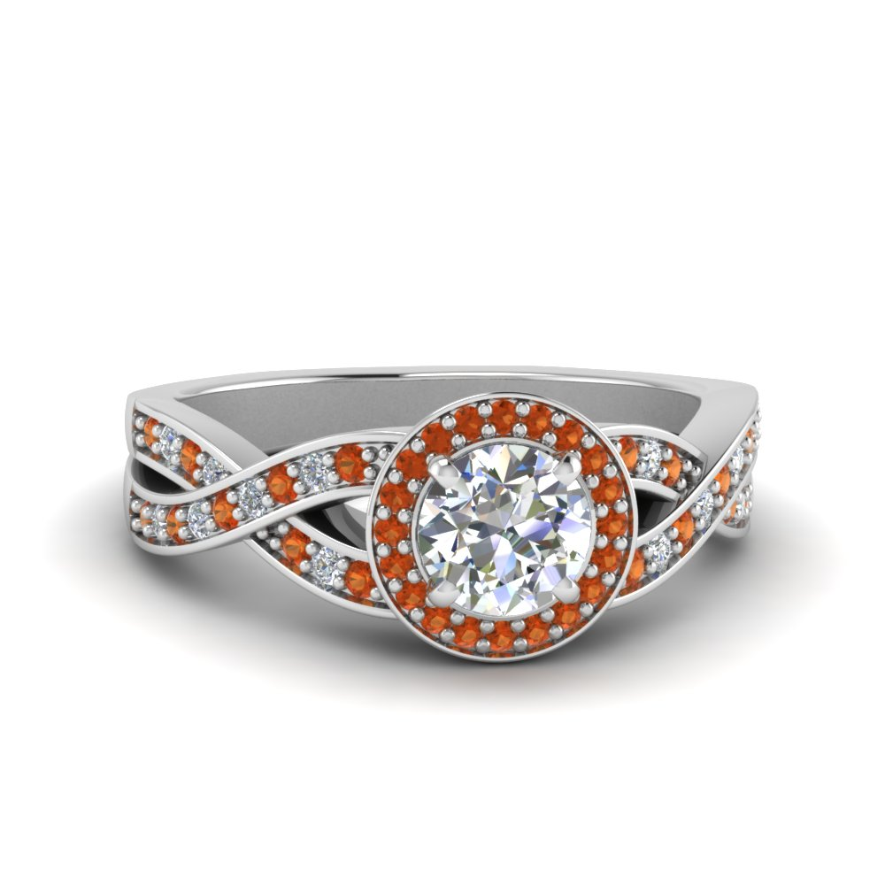 round diamond intertwined split shank halo engagement ring with orange sapphire in 14K white gold FDENS3189RORGSAOR NL WG
