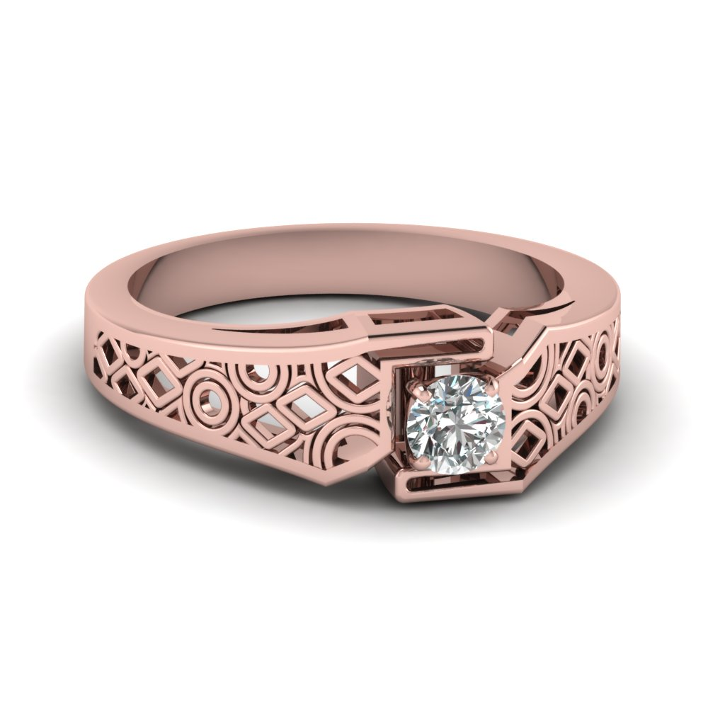 Round Cut Diamond Intricate Lattice Solitaire Ring In 14K Rose Gold ...