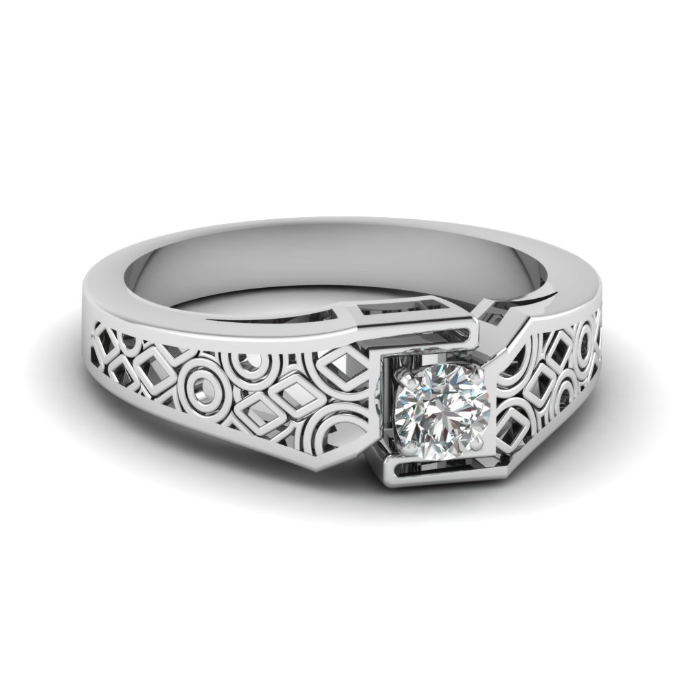 Intricate Filigree Platinum Solitaire Ring