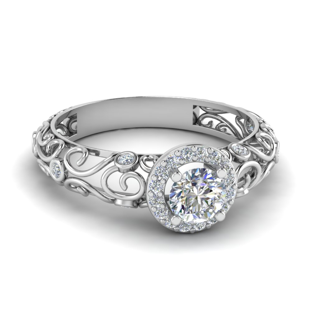 Vintage wedding rings platinum - Beautiful Filigree Round Cut Diamond Platinum Engagement Ring