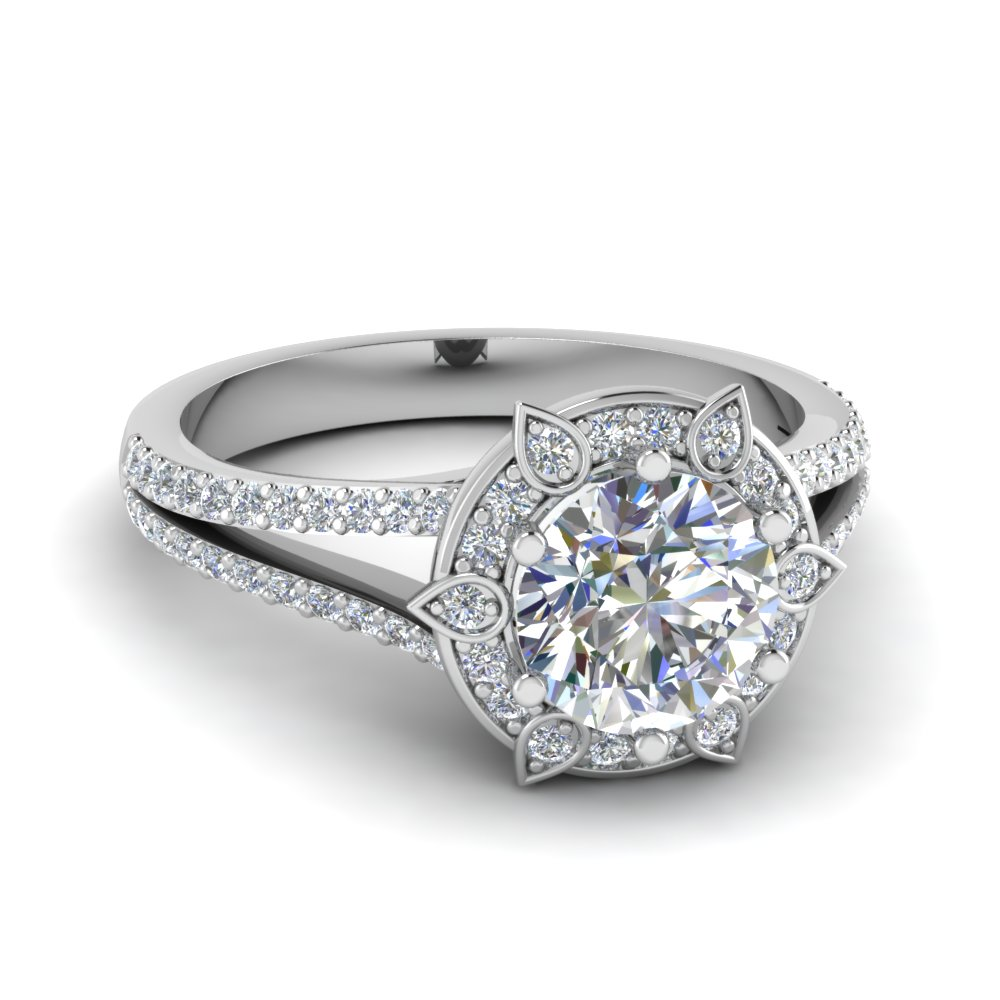 Split Shoulder Halo Engagement Ring