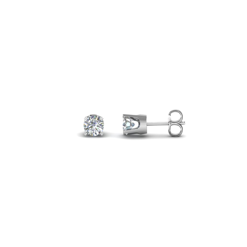 round cut diamond mens stud earrings in 14K white gold FDEARMS4RO20CT NL WG