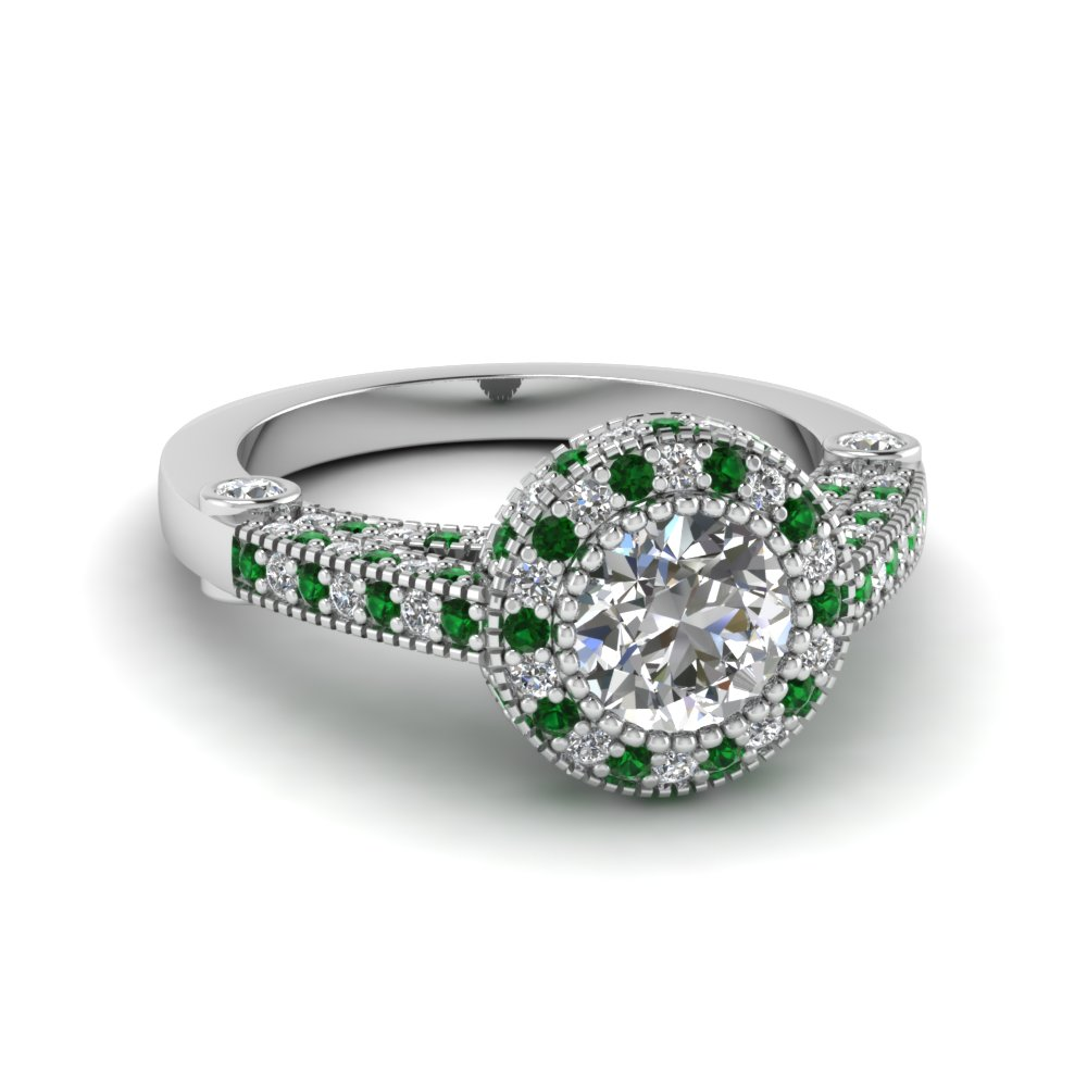 Round Cut Milgrain Diamond Ring