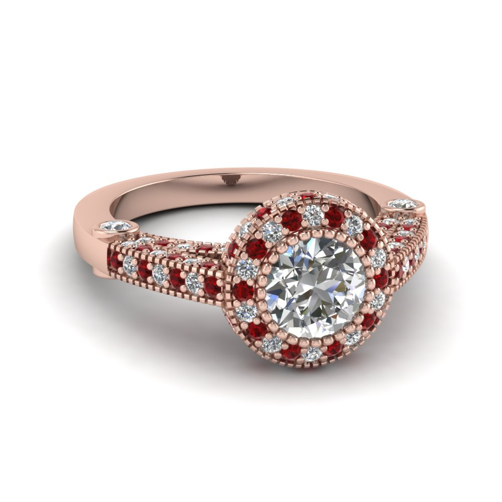 Rose Gold Ruby Halo Ring