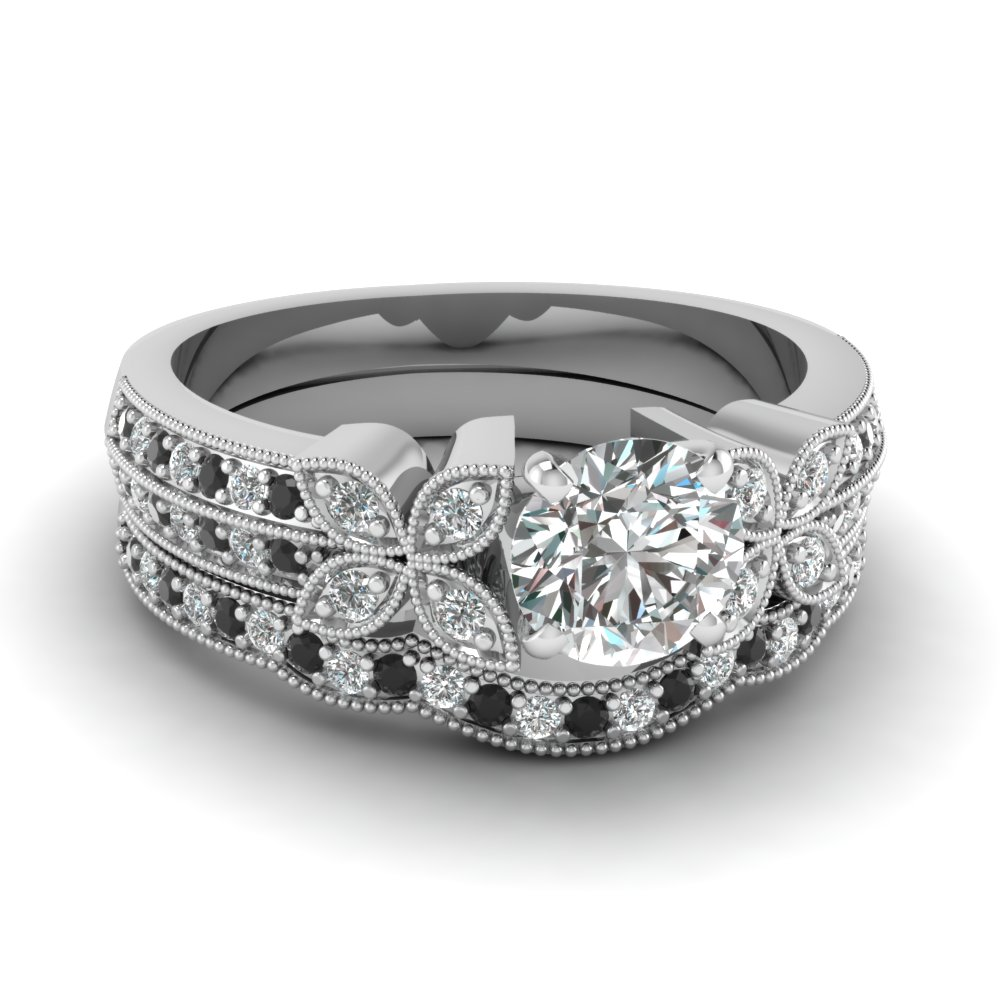 round-cut-diamond-milgrain-petal-wedding-set-with-black-diamond-in-950-Platinum-FDENS3308ROGBLACK-NL-WG