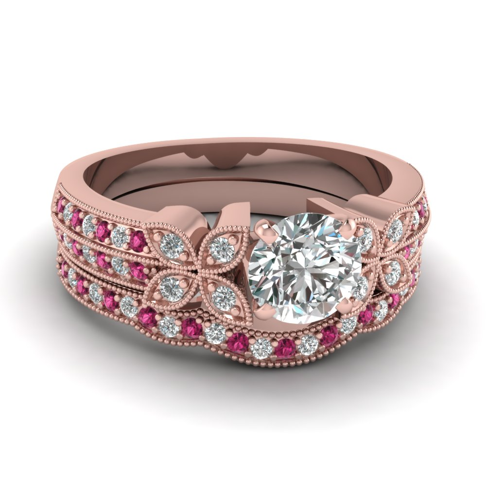 milgrain petal round diamond wedding ring set with pink sapphire in FDENS3308ROGSADRPI NL RG