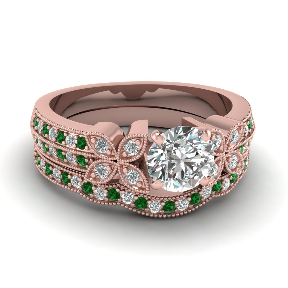 round-cut-diamond-milgrain-petal-wedding-set-with-green-emerald-in-14K-rose-gold-FDENS3308ROGEMGR-NL-RG