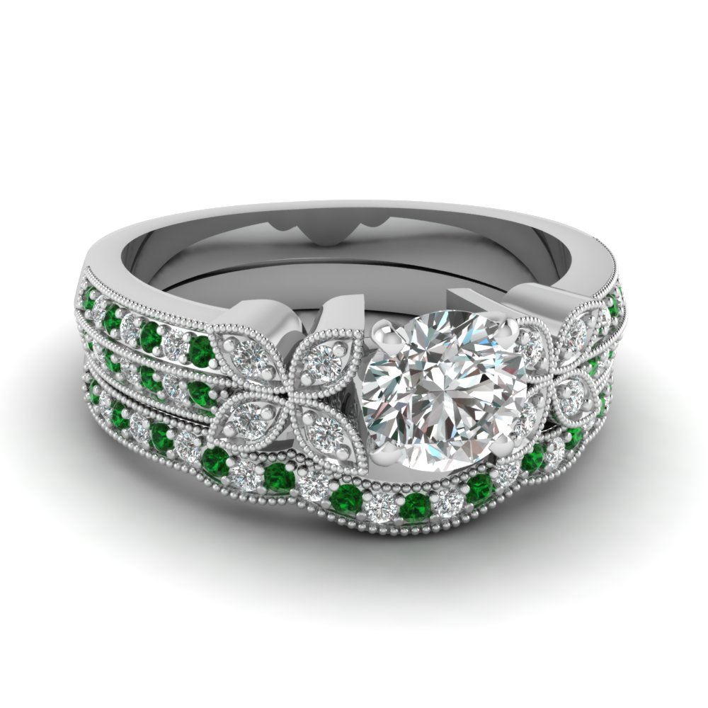 round-cut-diamond-milgrain-petal-wedding-set-with-green-emerald-in-18K-white-gold-FDENS3308ROGEMGR-NL-WG