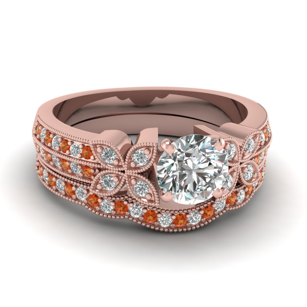 milgrain petal round diamond wedding ring set with orange sapphire in FDENS3308ROGSAOR NL RG