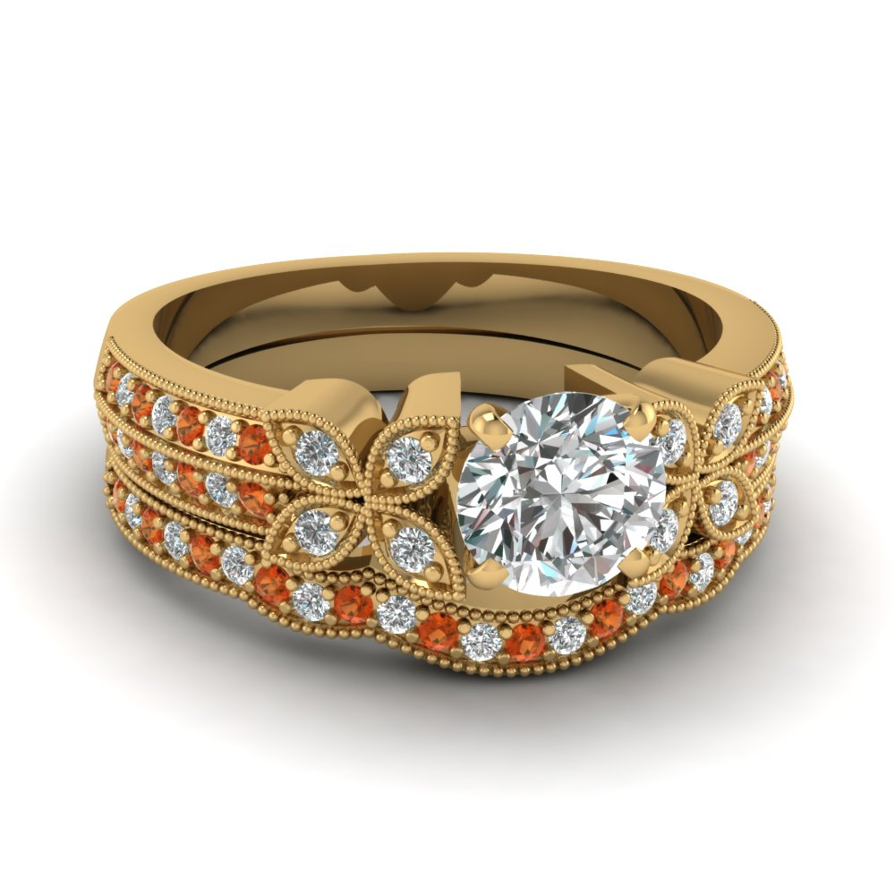 round-cut-diamond-milgrain-petal-wedding-set-with-orange-sapphire-in-18K-yellow-gold-FDENS3308ROGSAOR-NL-YG