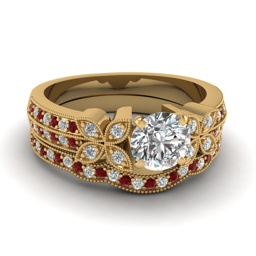 round-cut-diamond-milgrain-petal-wedding-set-with-red-ruby-in-14K-yellow-gold-FDENS3308ROGRUDR-NL-YG