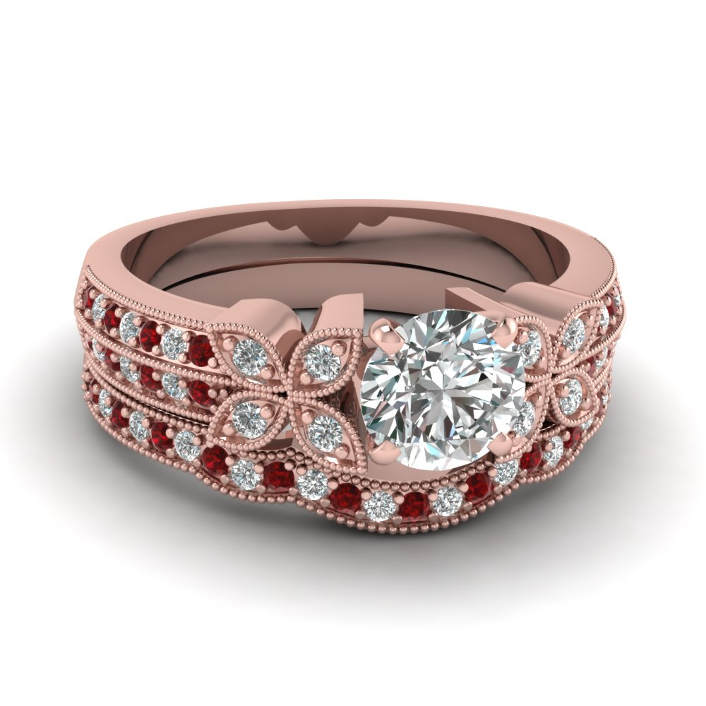 round-cut-diamond-milgrain-petal-wedding-set-with-red-ruby-in-18K-rose-gold-FDENS3308ROGRUDR-NL-RG