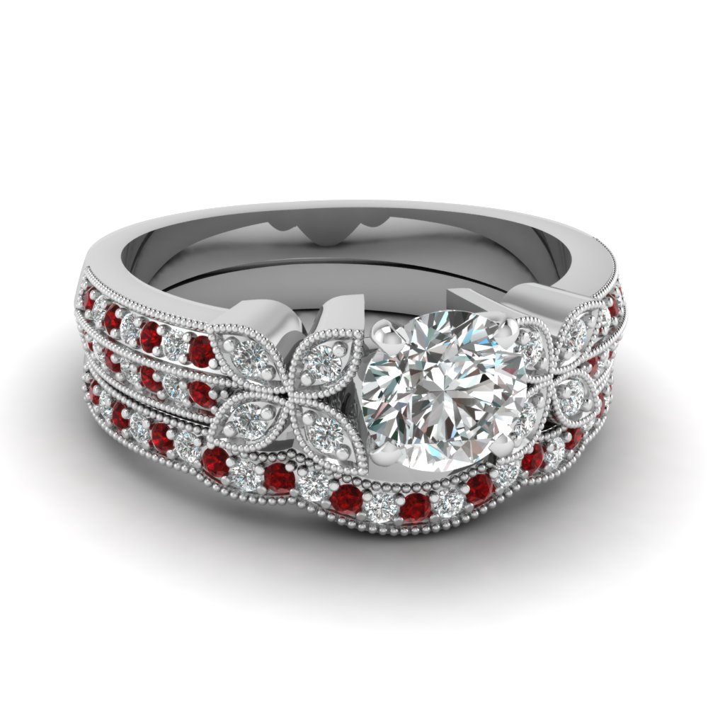 milgrain petal round diamond wedding ring set with ruby in FDENS3308ROGRUDR NL WG