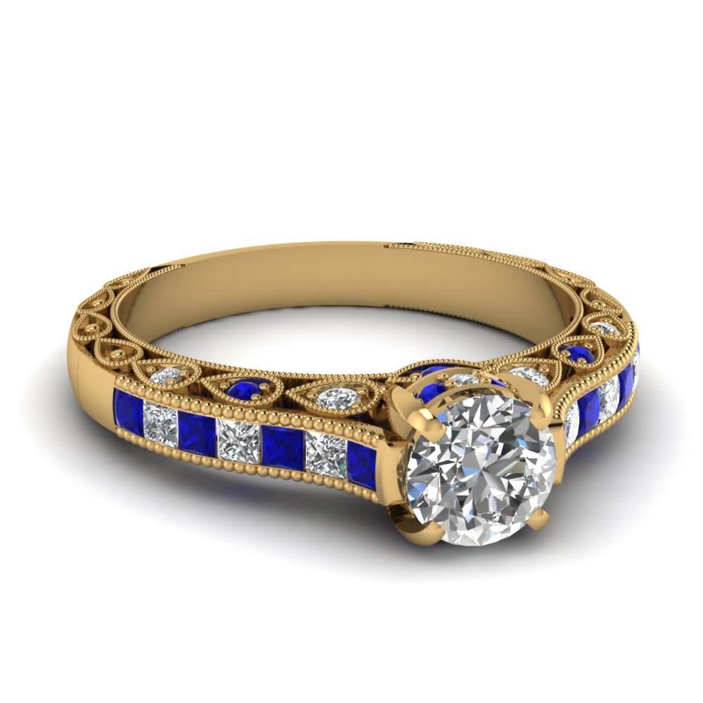Round Diamond and Blue Sapphire Beautiful Retro Engagement Rings