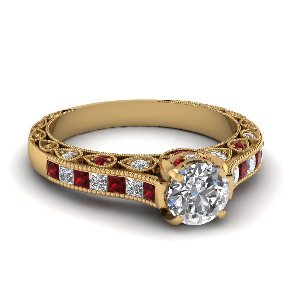 Round Diamond Ruby Milgrain Ring