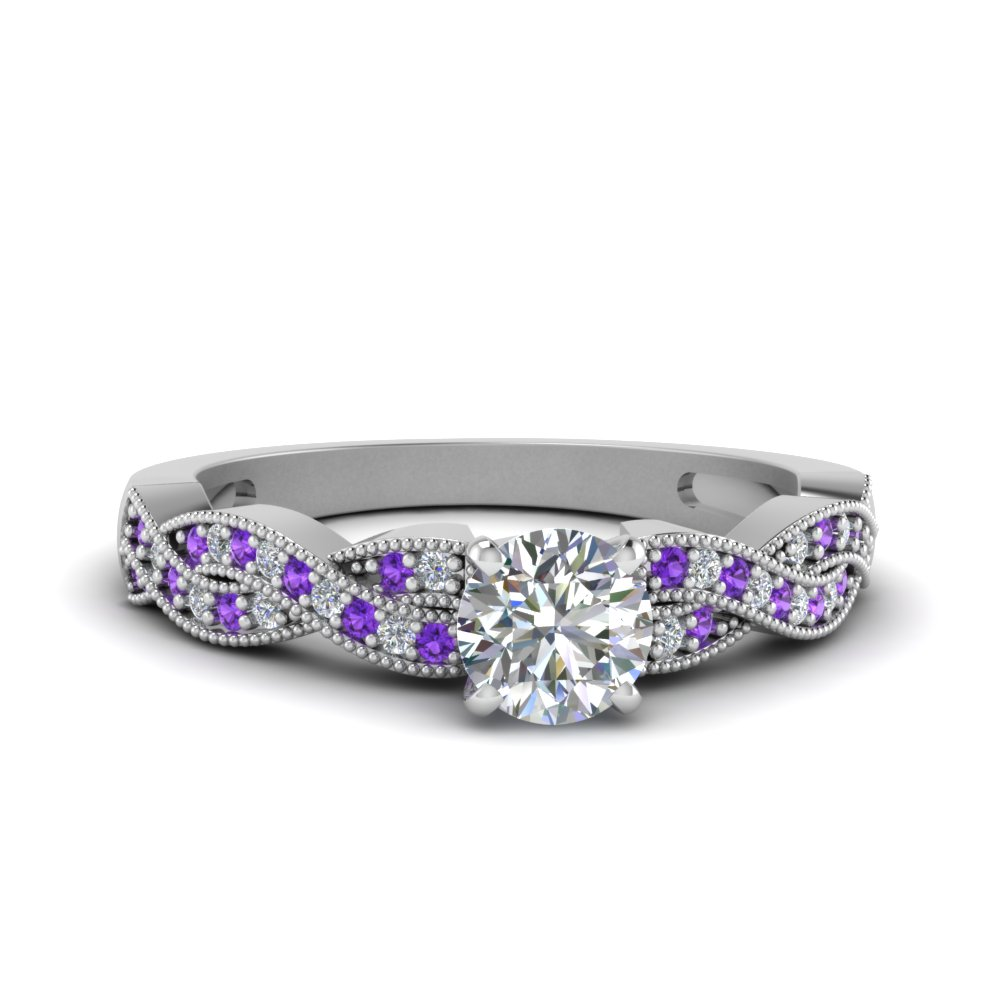 Violet Topaz Side Stone Diamond Rings