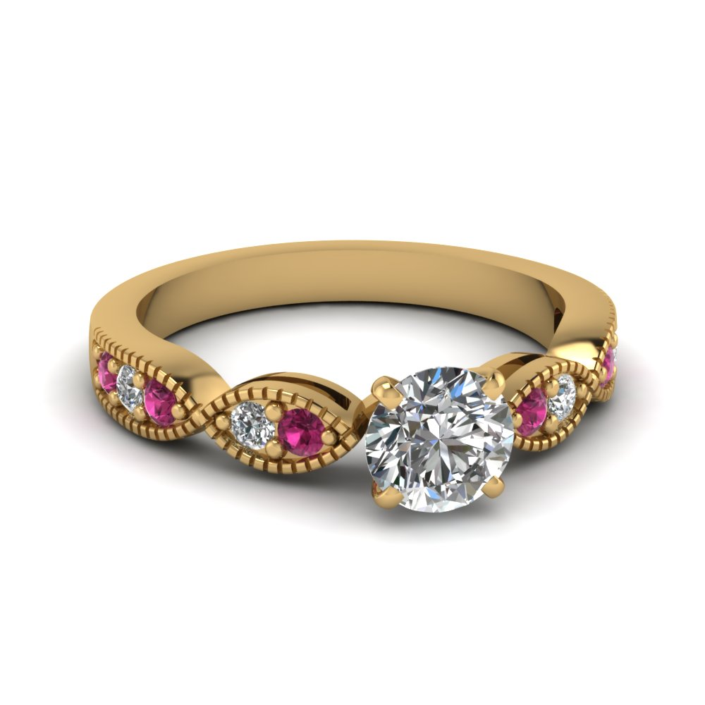 round cut art deco milgrain diamond engagement ring with pink sapphire in FDENS3053RORGSADRPI NL YG.jpg