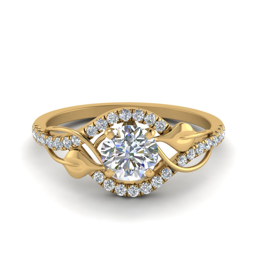 round cut diamond nature inspired twisted halo ring in 14K yellow gold FD8410ROR NL YG