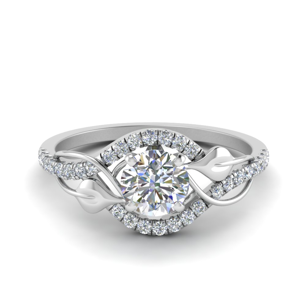 round cut diamond nature inspired twisted halo engagement ring in FD8410ROR NL WG