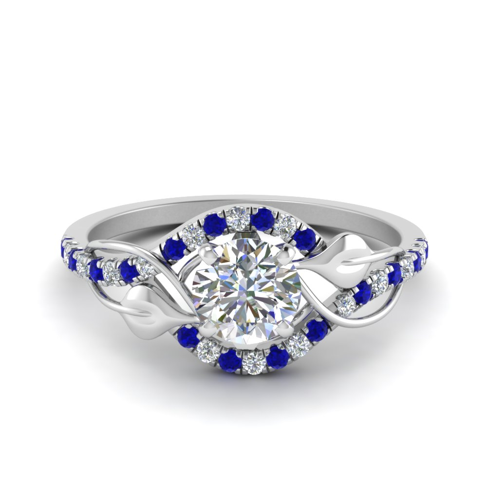 round cut diamond nature inspired twisted halo engagement ring with sapphire in FD8410RORGSABL NL WG