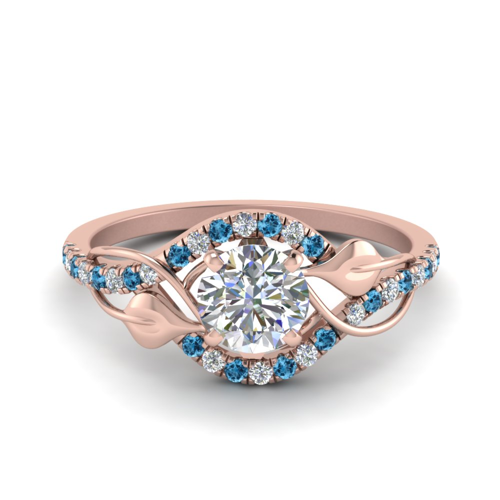 round cut diamond nature inspired twisted halo engagement ring with blue topaz in FD8410RORGICBLTO NL RG