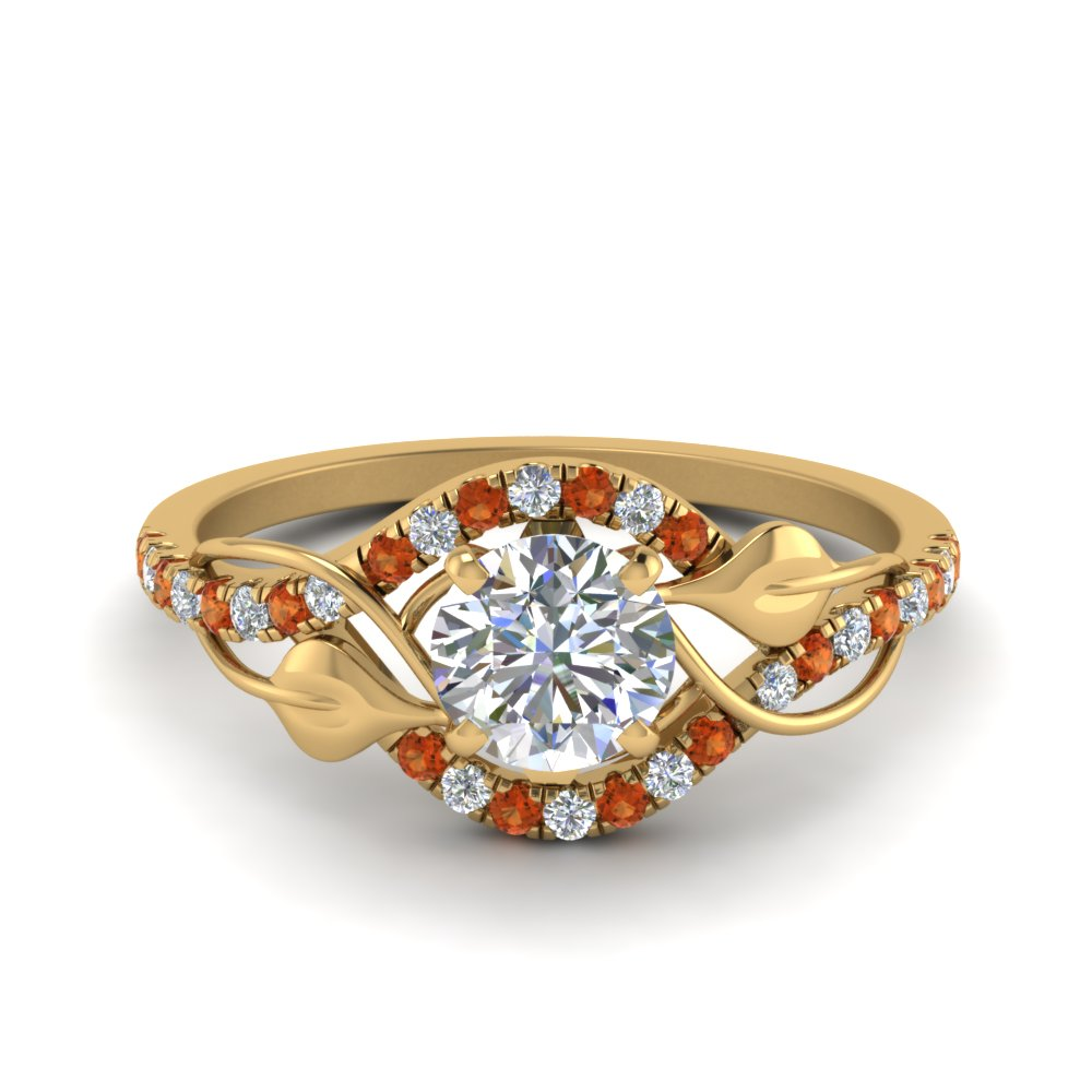 round cut diamond nature inspired twisted halo engagement ring with orange sapphire in FD8410RORGSAOR NL YG