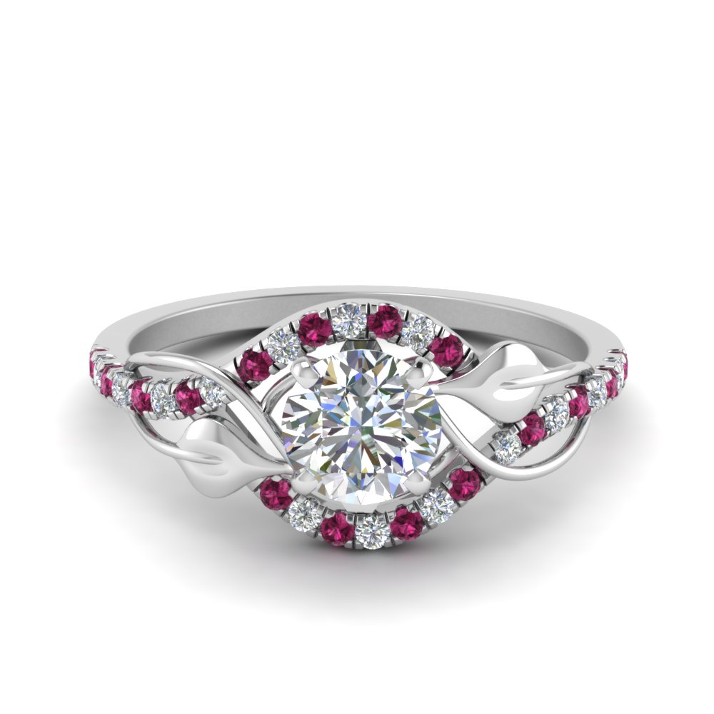 round cut diamond nature inspired twisted halo engagement ring with pink sapphire in FD8410RORGSADRPI NL WG