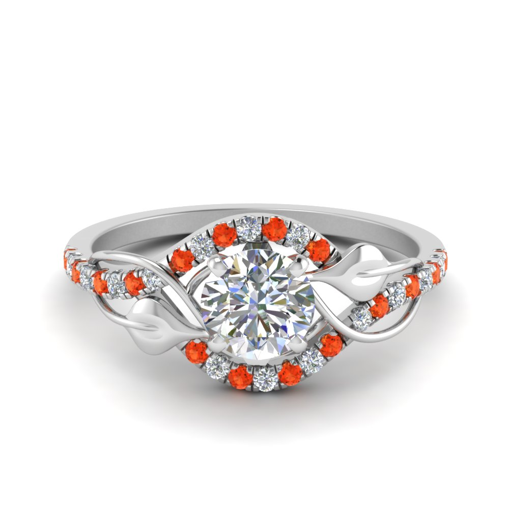round cut diamond nature inspired twisted halo engagement ring with orange topaz in FD8410RORGPOTO NL WG