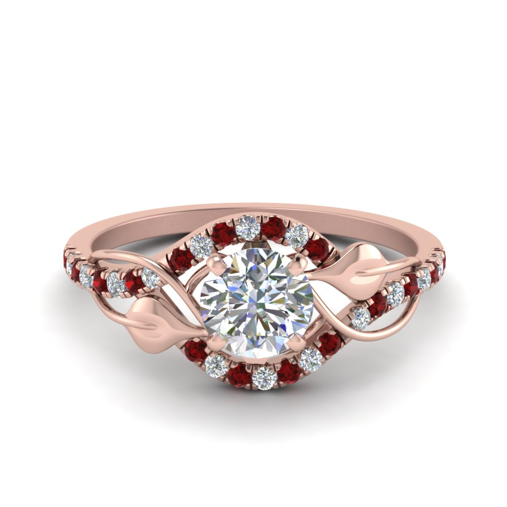 round cut diamond nature inspired twisted halo engagement ring with ruby in FD8410RORGRUDR NL RG