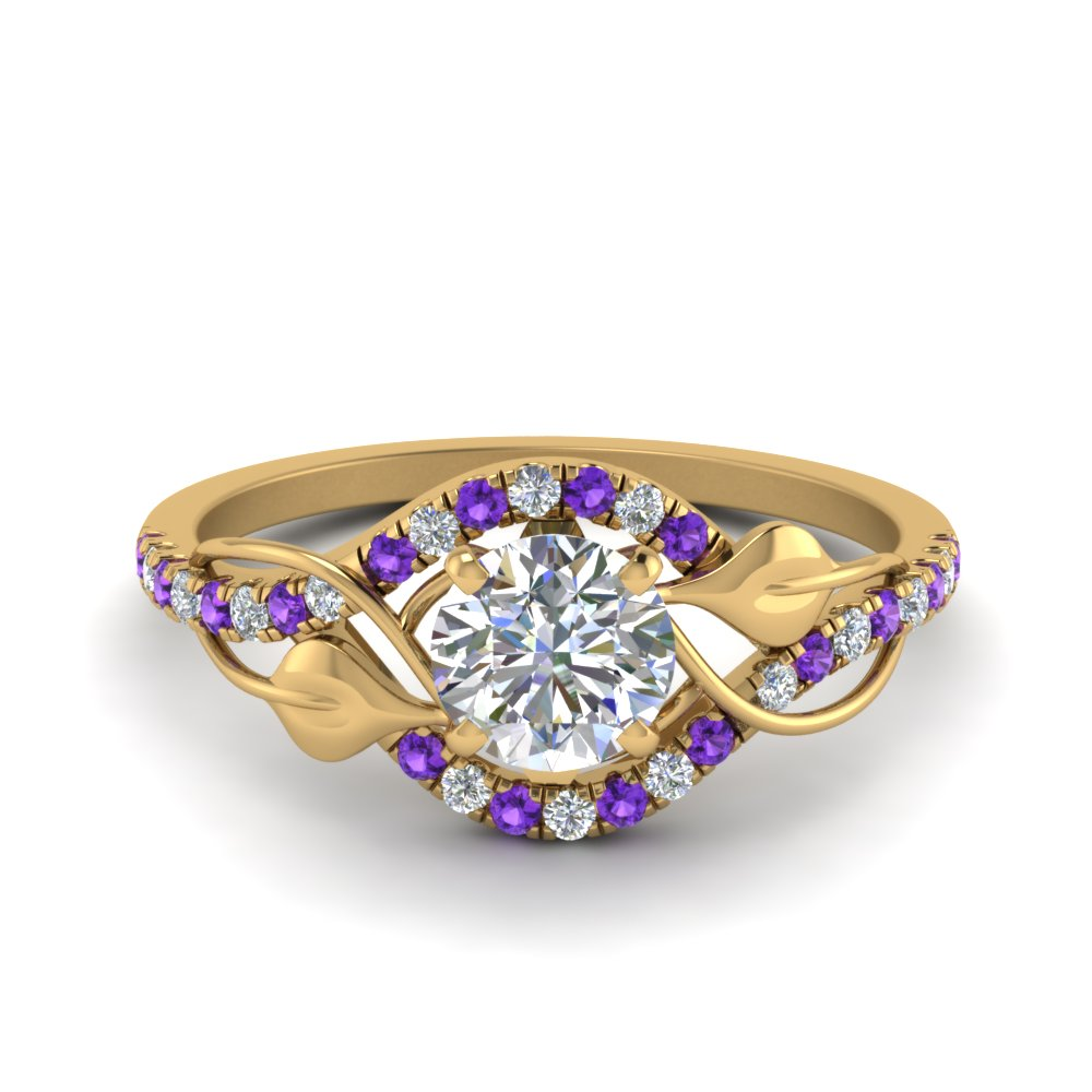 round cut diamond nature inspired twisted halo engagement ring with purple topaz in FD8410RORGVITO NL YG