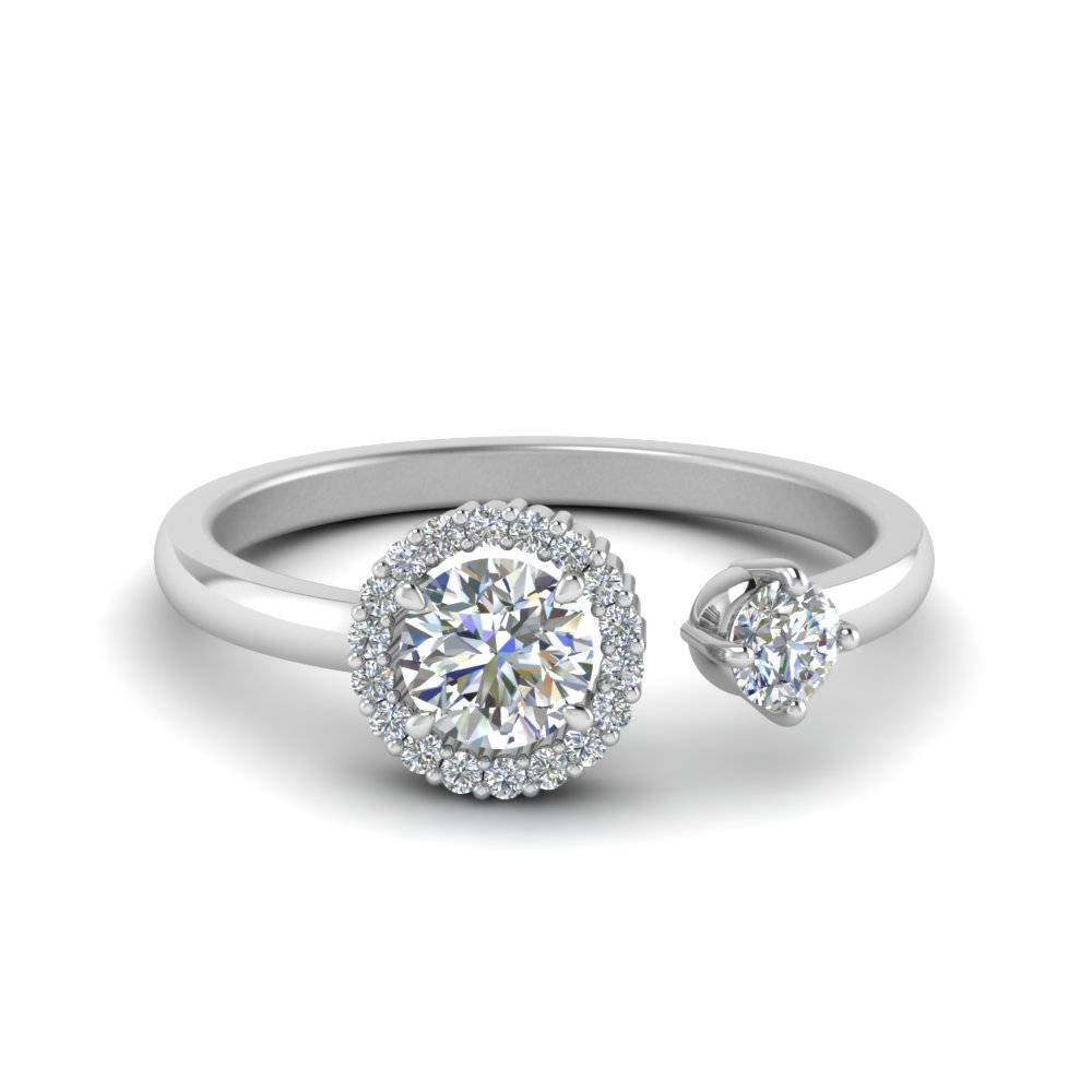 rounded ring engagement setting white shank round diamond with half in cathedral gold solitaire