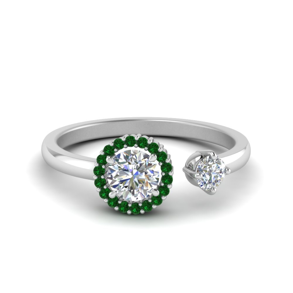 round cut diamond open wrap engagement ring with emerald in 14K white gold FD71903RORGEMGR NL WG GS