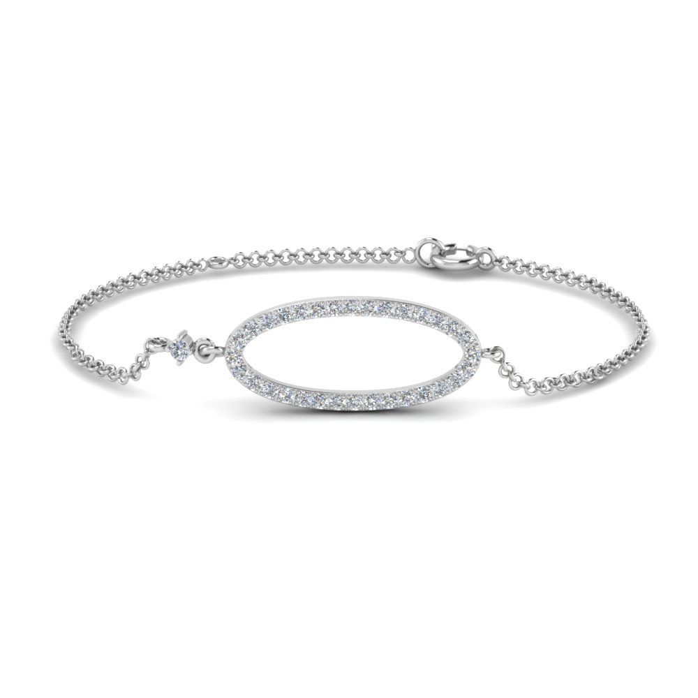 round cut diamond oval link bracelet in 14K white gold FDBR1001RO NL WG