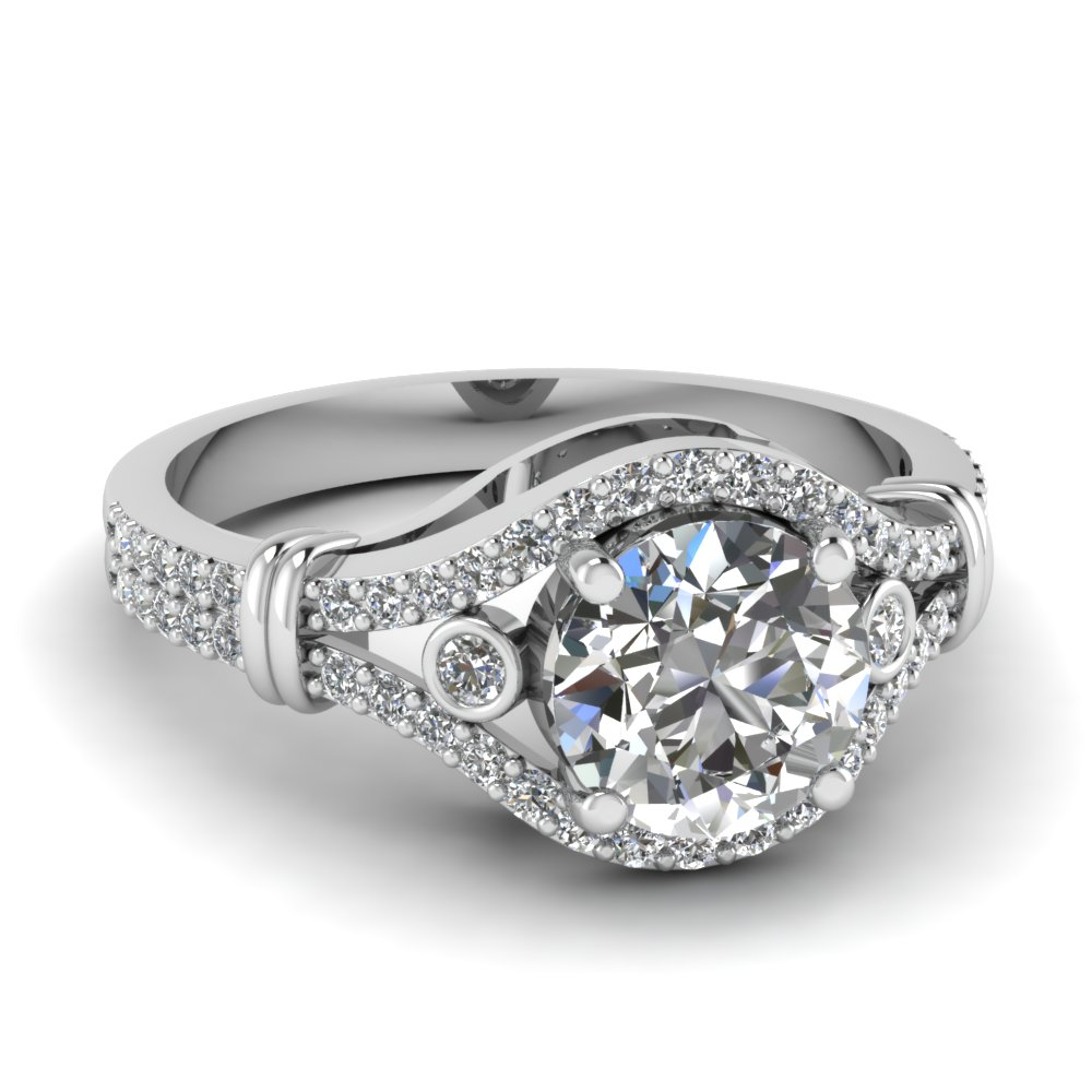 beautiful crossover moissanite engagement ring in FDENR9316ROR NL WG