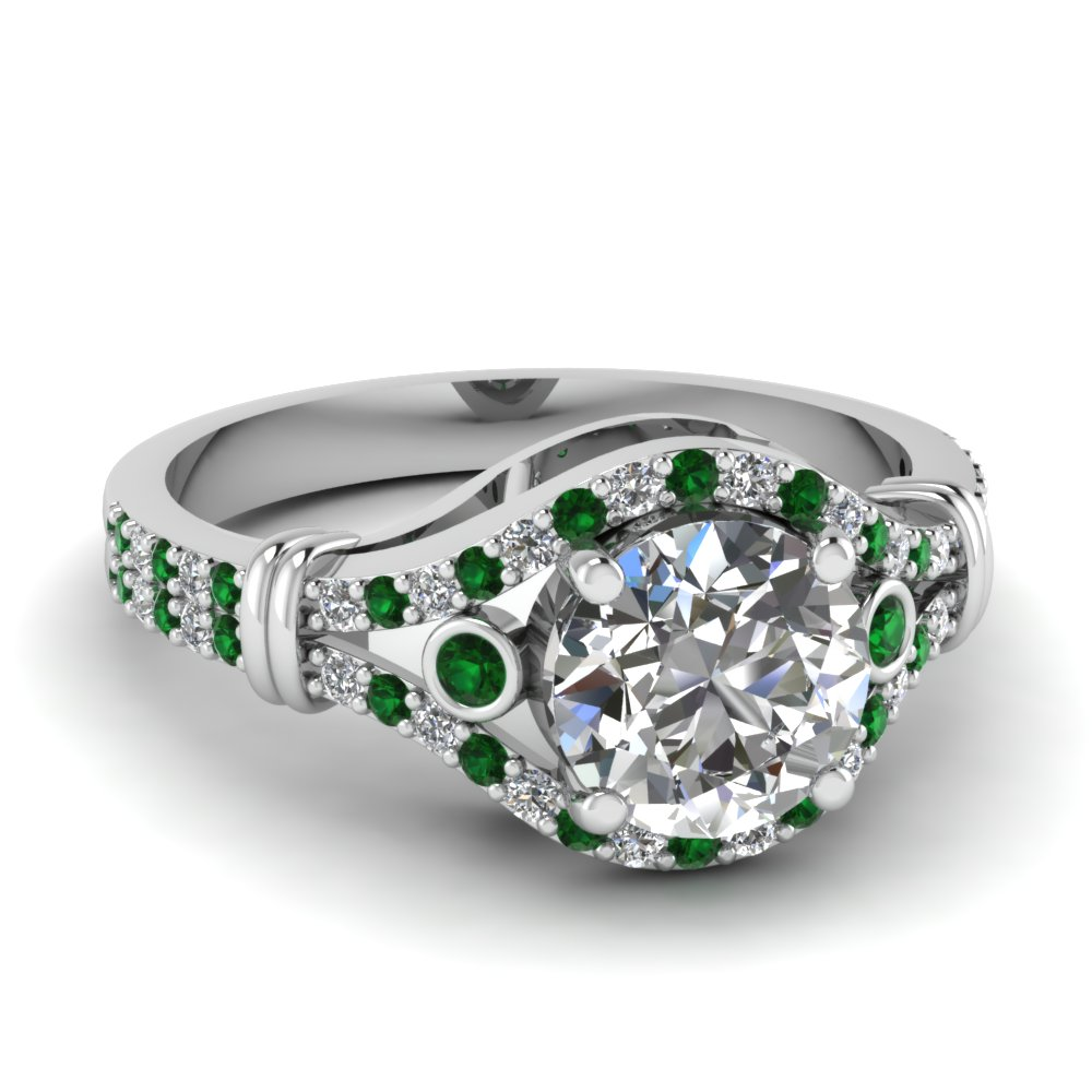 Stunning Emerald Side Stone Engagement Rings | Fascinating ... - photo#34