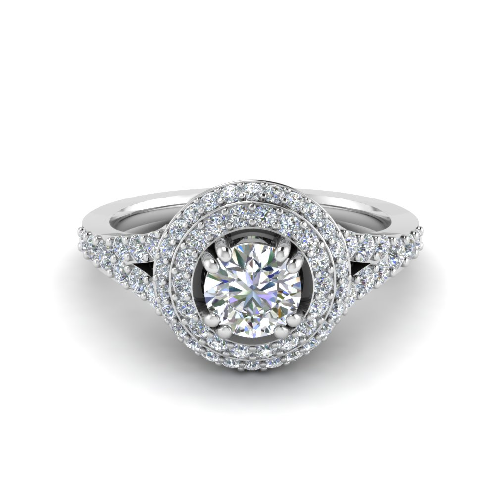 Petite Pave Halo Diamond Engagement Ring In 18K White Gold