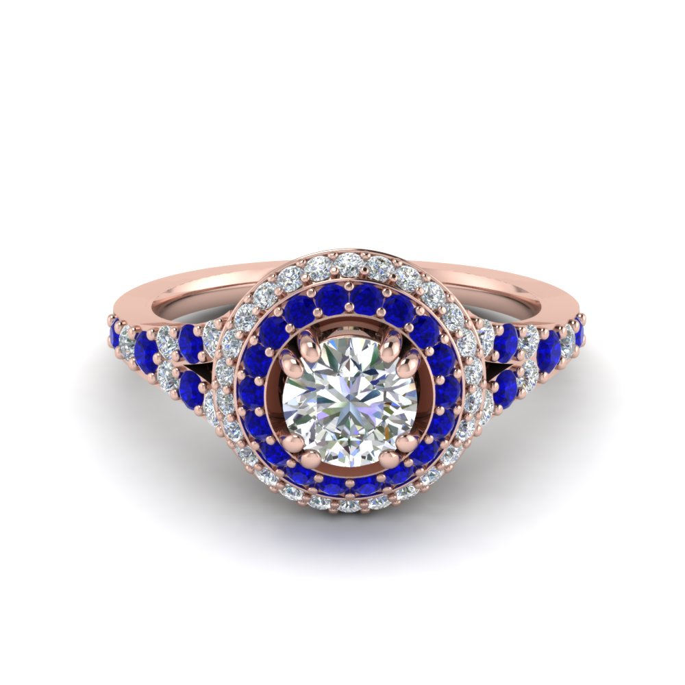 Round Cut Sapphire Halo Engagement Rings