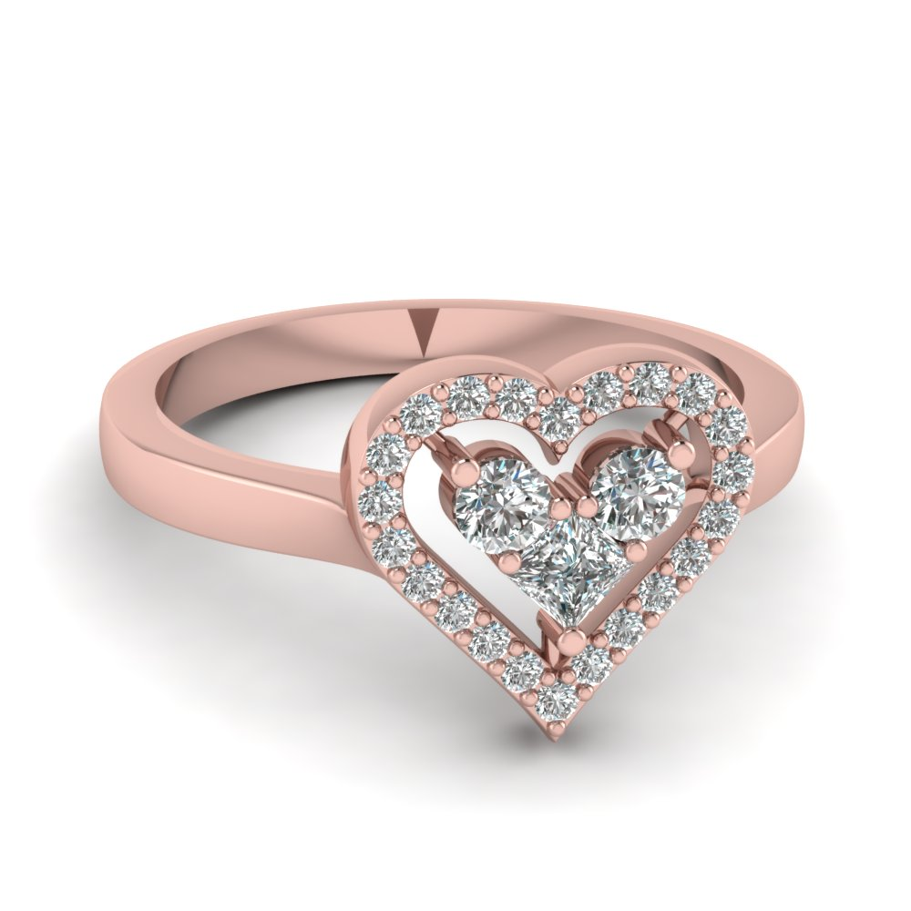 round cut diamond princess heart side stone ring in 14K rose gold FD1165HTR NL RG