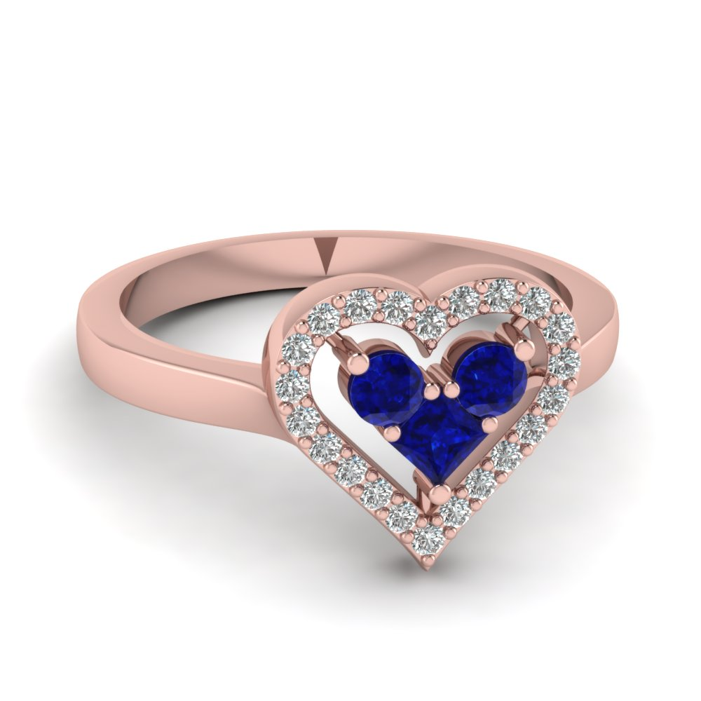 Affordable & Unique Heart Shaped Round Diamond and Sapphire Ring in Rose Gold