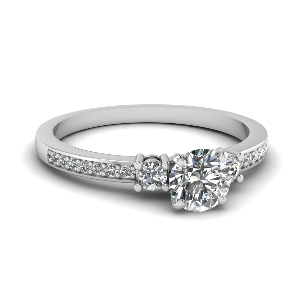 Delicate 3 Stone Wedding Ring