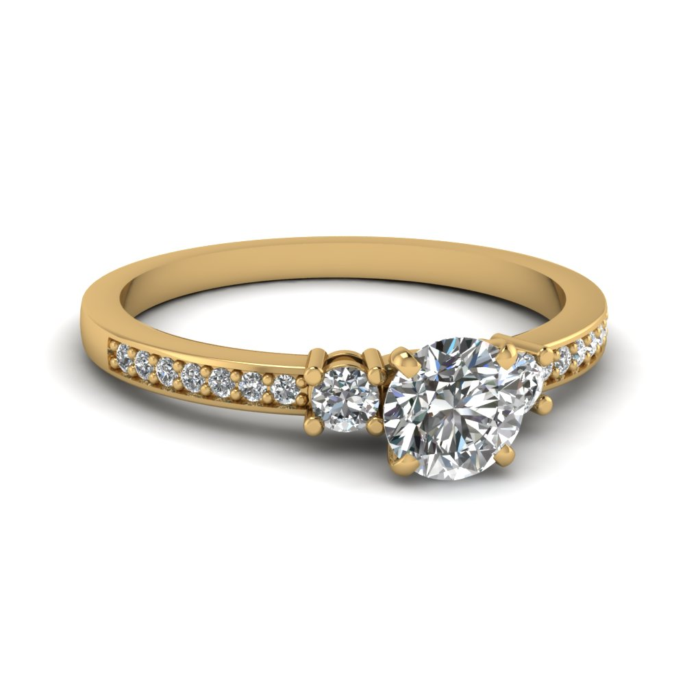 delicate 3 stone round diamond engagement ring in FDENS3101ROR NL YG