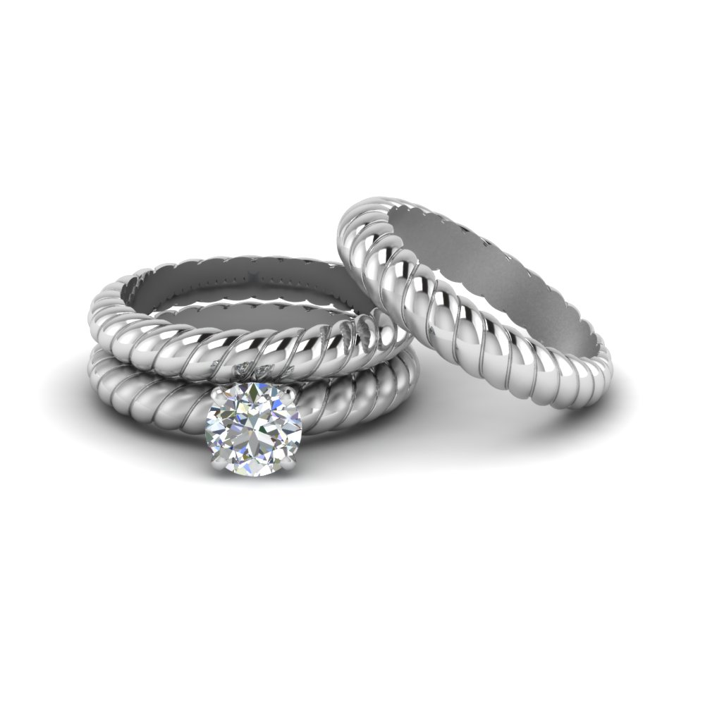 round cut diamond rope style trio matching set for bride and groom