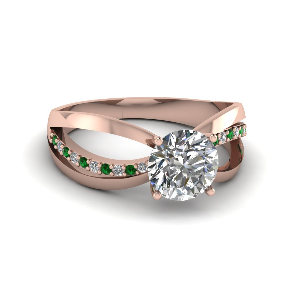 Round Cut Split Engagement Ring
