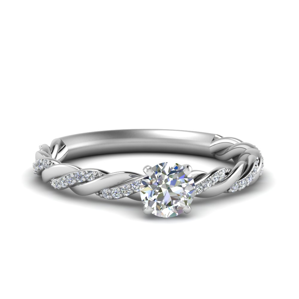 twisted vine round diamond engagement ring for women in FD122673ROR NL WG