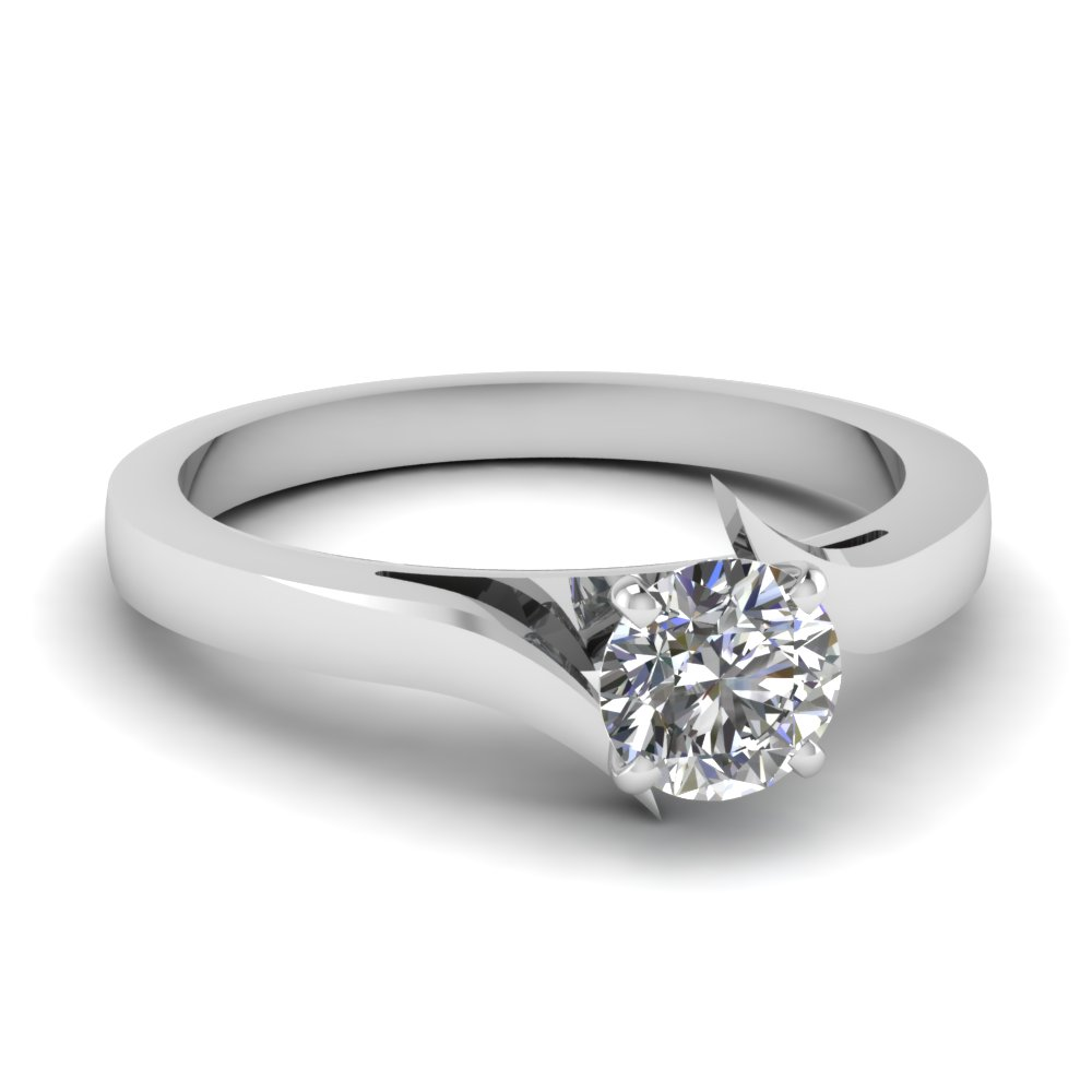 twisted round cut solitaire engagement ring in 18K white gold FD1020ROR NL WG