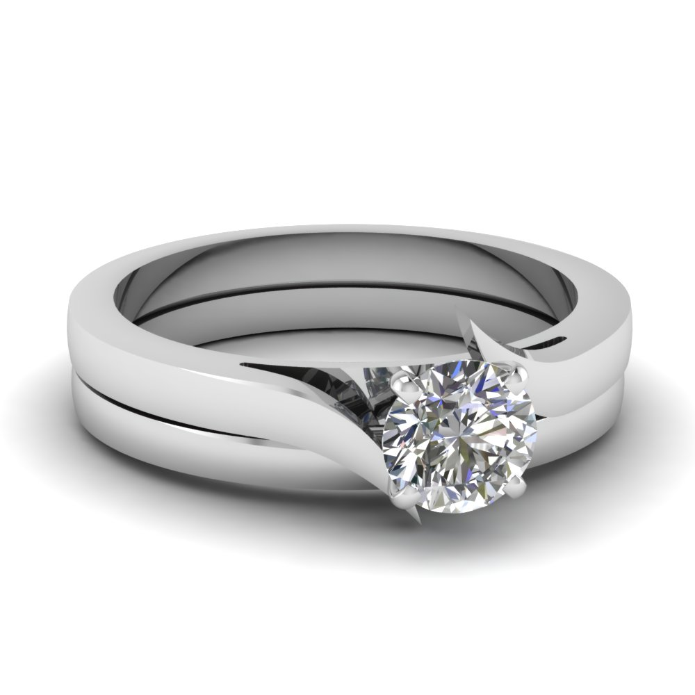 round cut diamond serenity solitaire wedding set in - Simple Wedding Ring Sets