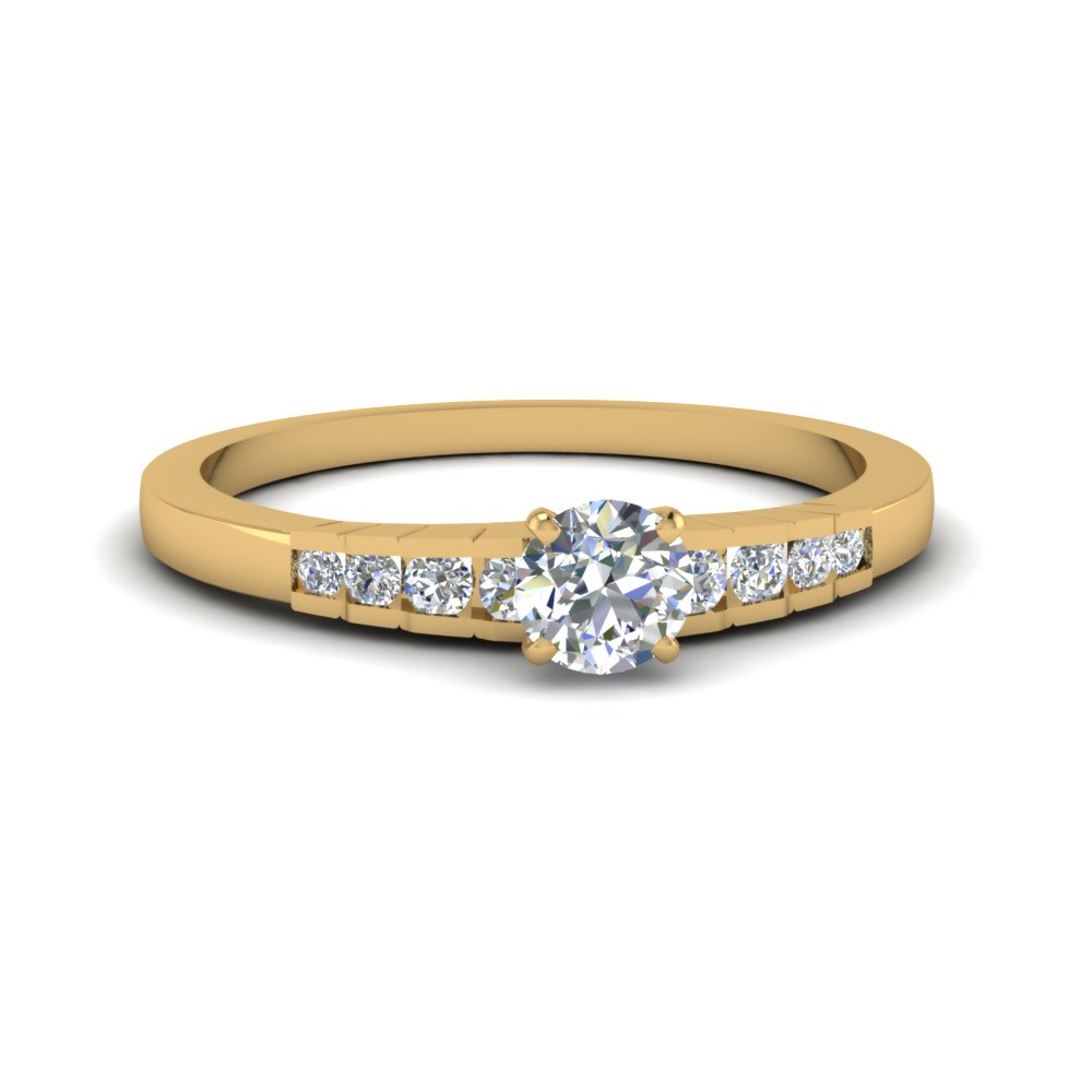 round cut diamond simple petite engagement ring in 14K yellow gold FDENS3116ROR NL YG