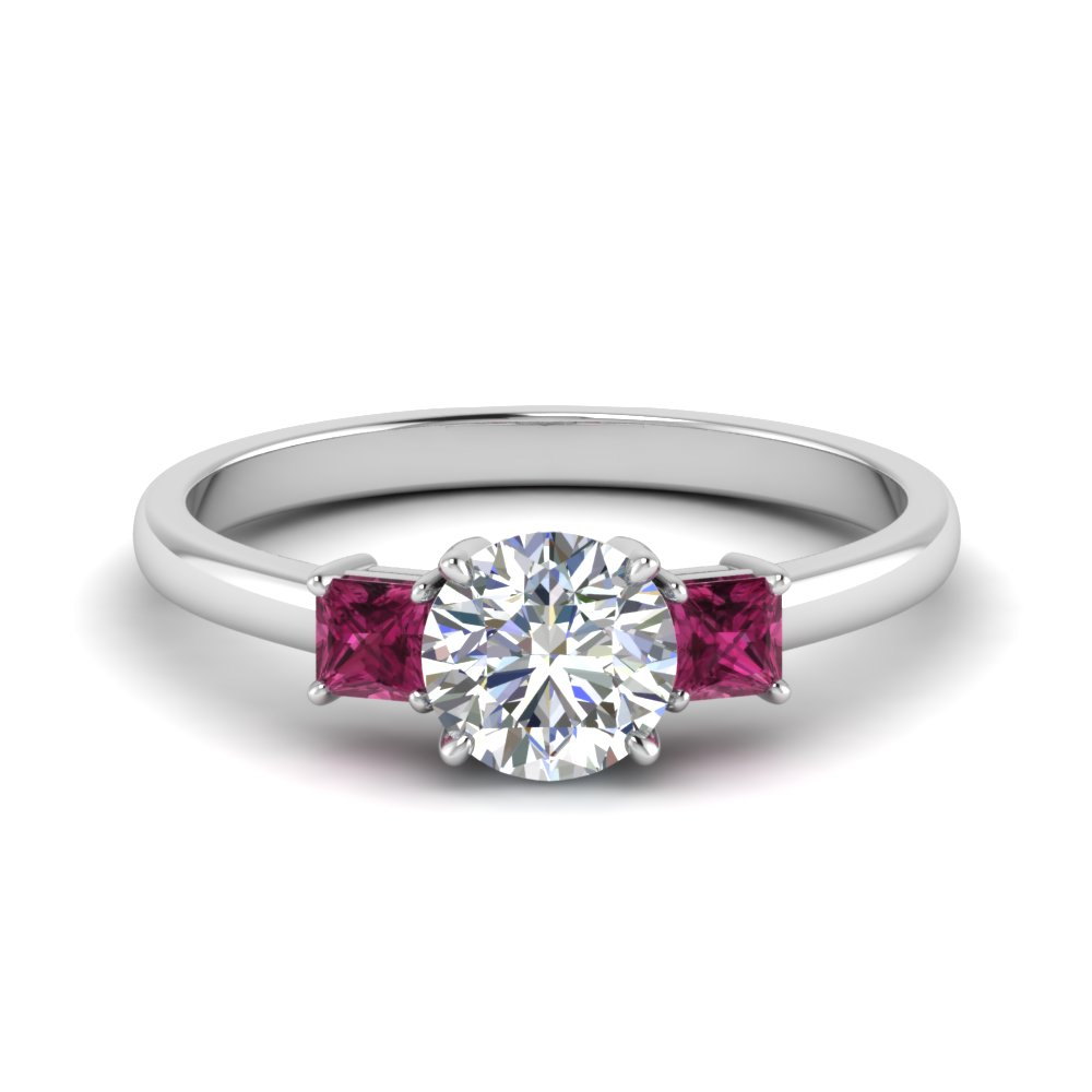 3 Stone Ring With Pink Sapphire